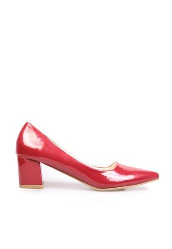 Sunnydaysweety Korea Retro Pointed Rough With Leather Red High Heels C11303 SU443SH2VG02HK_1