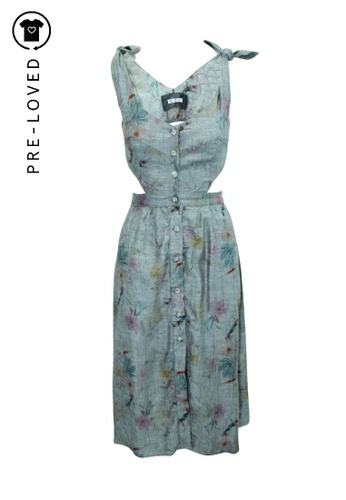 Reformation grey Pre-Loved reformation Linen Printed Long Dress with Buttons 4BFB2AA6902B29GS_1