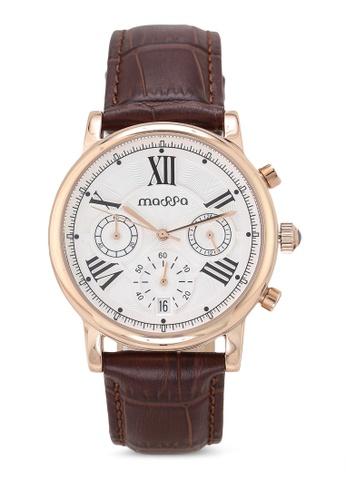Massa Collections white Ingenious White (Dark Brown Strap) Ladies Chronograph Leather Watch 5FB33AC797D3C8GS_1