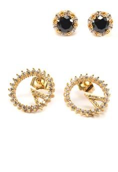 Christine 2 pairs Cubic Zircon Earrings
