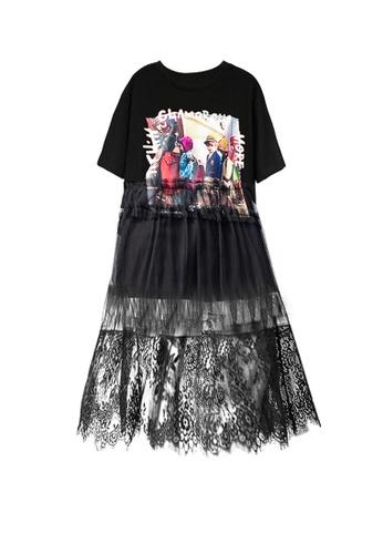 Twenty Eight Shoes Black Slouchy Short Sleeve Mesh Dress DD6507 B6DB5AAF5B0237GS_1