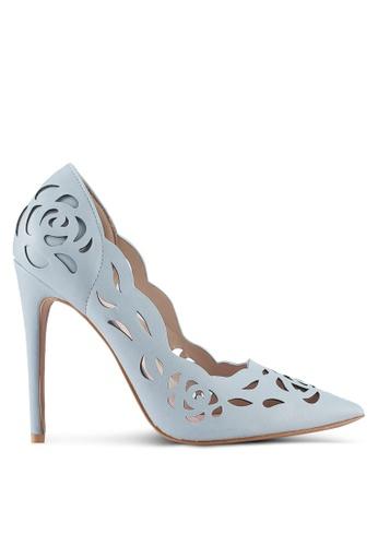 Velvet blue Lace Detail Heels 1DF2CSHC86C74DGS_1