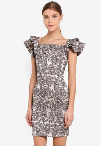 Vesper silver Vesper Clover Frill Sleeve Mini Dress VE733AA0SXACMY_1