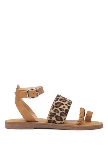 London Rag 米褐色 脚踝条带平底凉鞋 A8636SHBE86941GS_1