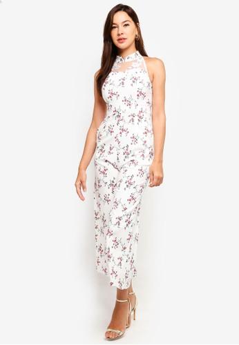Megane white Red Romance Jessamine Mandarin Collar Jumpsuit 08E8AAABA33360GS_1