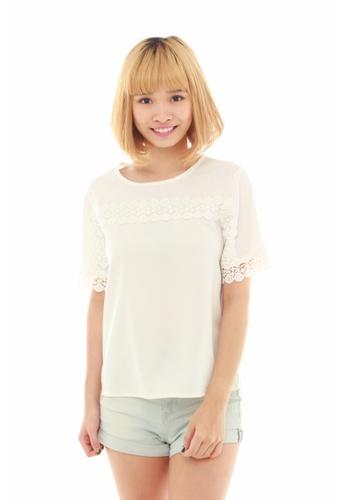 LUXORA white Embroidery Lace White Top LU926AA14QJHSG_1