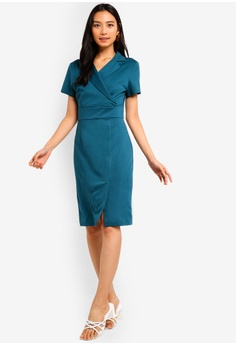 dcc10423a15 35% OFF ZALORA Open Collar Bodycon Dress RM 105.00 NOW RM 67.90 Sizes XS S  M L XL