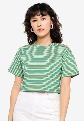 Urban Revivo green Drop-Shoulder Sleeve Cotton T-Shirt C7863AA423CEC9GS_1