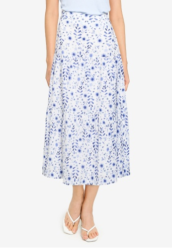 GAP white Tiered Maxi Skirt 443A1AA7C046E6GS_1