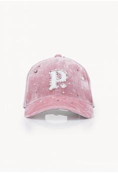 37da2692082 Pomelo pink Crushed Velvet Embellished P Cap - Pink 954F5ACDF82CD6GS 1