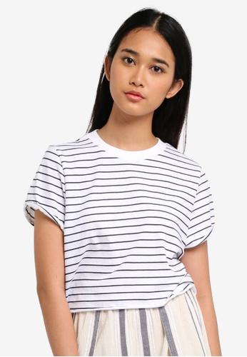 TOPSHOP white Stripe Crop Roll Back 947E8AA905FE47GS_1