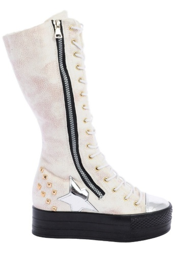 Maxstar white C50 568 Inside Fur Synthetic Leather Studed Black Plarform Half-Long Boots MA164SH11CJSSG_1