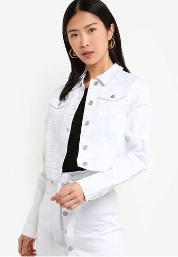 ZALORA BASICS white Basic Fitted Denim Jacket C5BABAA1936B7DGS_1