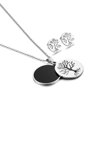 Glamorousky silver Fashion Simple Tree Of Life Geometric Round 316L Stainless Steel Necklace and Stud Earring Set D77E9AC2B420C6GS_1