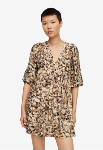 Mango brown Printed Short Dress D2697AAE7690E7GS_1