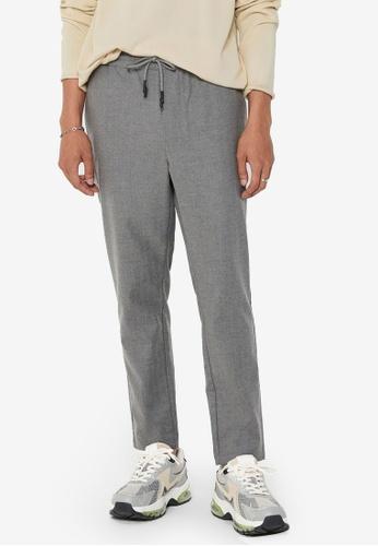 Only & Sons grey Linus Herringbone Pants 02A8FAA0F12102GS_1