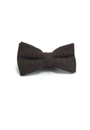 Splice Cufflinks Dolly Series Dark Brown Wool Pre-tied Bow Tie SP744AC26QORSG_1