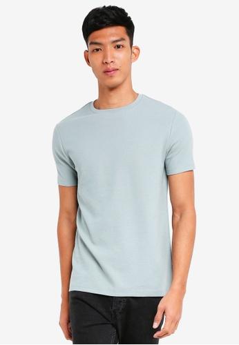 Burton Menswear London green Mint Waffle Textured T-Shirt C5F2EAA83436D3GS_1