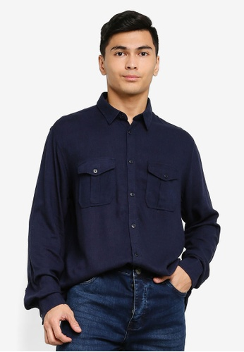 Brave Soul navy Long Sleeve Button Shirt 4B4A6AA55A5A1FGS_1