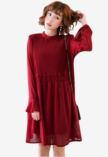 Tokichoi red Pleated Chiffon Dress 408E1AA1526C2BGS_1