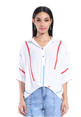 Hernani white and red Batwing Front Button Shirt D8354AA544035AGS_1