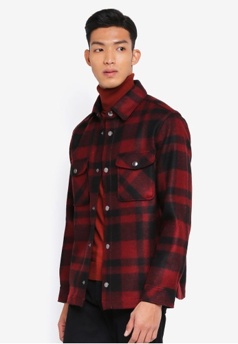 United Colors of Benetton red Textured Check Jacket 70065AA7F97A74GS_1