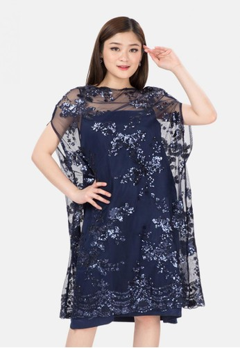The Pink Label navy Lace Batwing Dress with Sateen Inner in Navy F7B5FAA73557CAGS_1