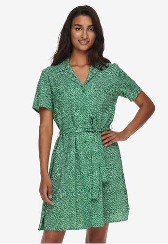 JACQUELINE DE YONG green Isaak Short Sleeves Shirt Dress 4B819AA08F5C4BGS_1