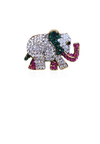 Glamorousky white Fashion Bright Plated Gold Colorful Elephant Brooch with Cubic Zirconia 846BAAC71258B8GS_1