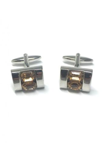 Splice Cufflinks yellow and silver Yellow Crystals Inserts Cufflinks SP744AC06FTLSG_1