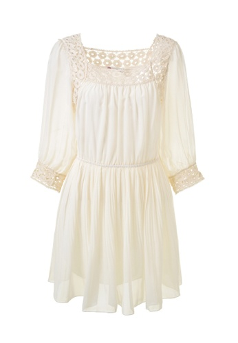 hk-ehunter white Three-quarter Sleeve Elastic Waist Band Bohemia Dress FCC61AA6F5913FGS_1