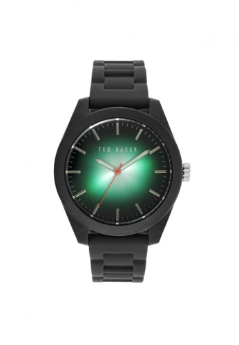 TED BAKER green Ted Baker Sporty Black/Green Silicone Strap Watch TE856AC65NRESG_1
