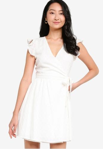 ZALORA BASICS white Cotton Eyelet Mini Wrap Dress 3EC2EAA3EFAC03GS_1