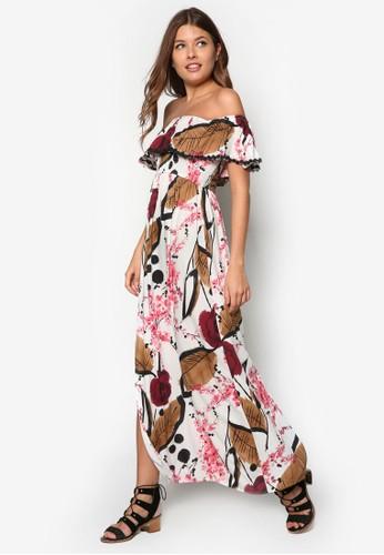 Toriesprit 品牌 露肩荷葉層次長洋裝, 服飾, 服飾