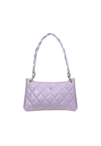 Verchini purple Verchini Textured Panelled Shoulder Bag 3EB28ACD2EB15BGS_1