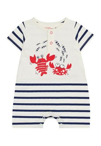 Du Pareil Au Même (DPAM) white Crab Stripe Jumpsuit E7821KA2EA6CC6GS_1