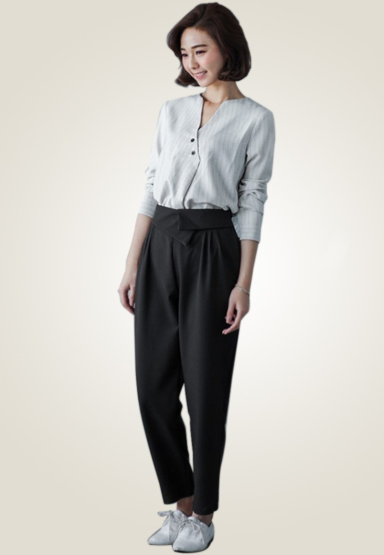 Quirky Banded Gathered Trousers