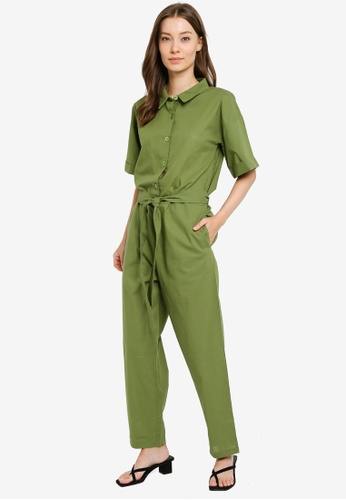 Compania Fantastica green Belted Jumpsuit 97D98AA4A0D1E8GS_1