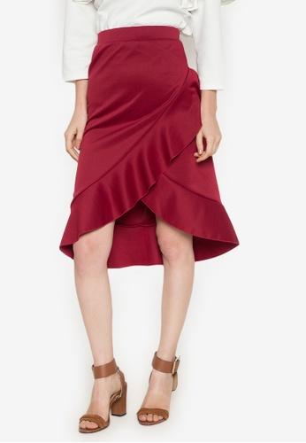 Hug red Asymmetric Ruffled Skirt HU902AA0JJ6SPH_1