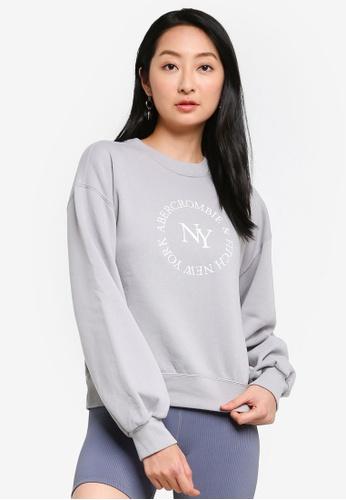 ABERCROMBIE & FITCH grey Embroidery Logo Sweatshirt D3E98AAA8B9997GS_1