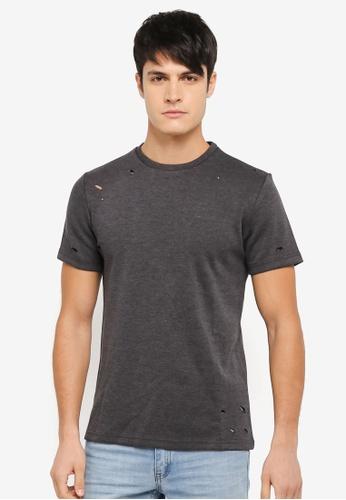 ZALORA 黑色 抓破設計T恤 820E8AAFDA949CGS_1