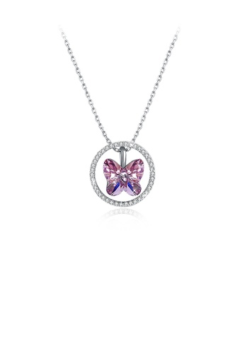 Glamorousky purple 925 Sterling Silver Butterfly Pendant with Purple Austrian Element Crystal and Necklace FBA94ACD64F8A7GS_1