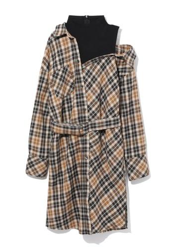 b+ab beige Off shoulder checkered dress B02F8AAED5D425GS_1