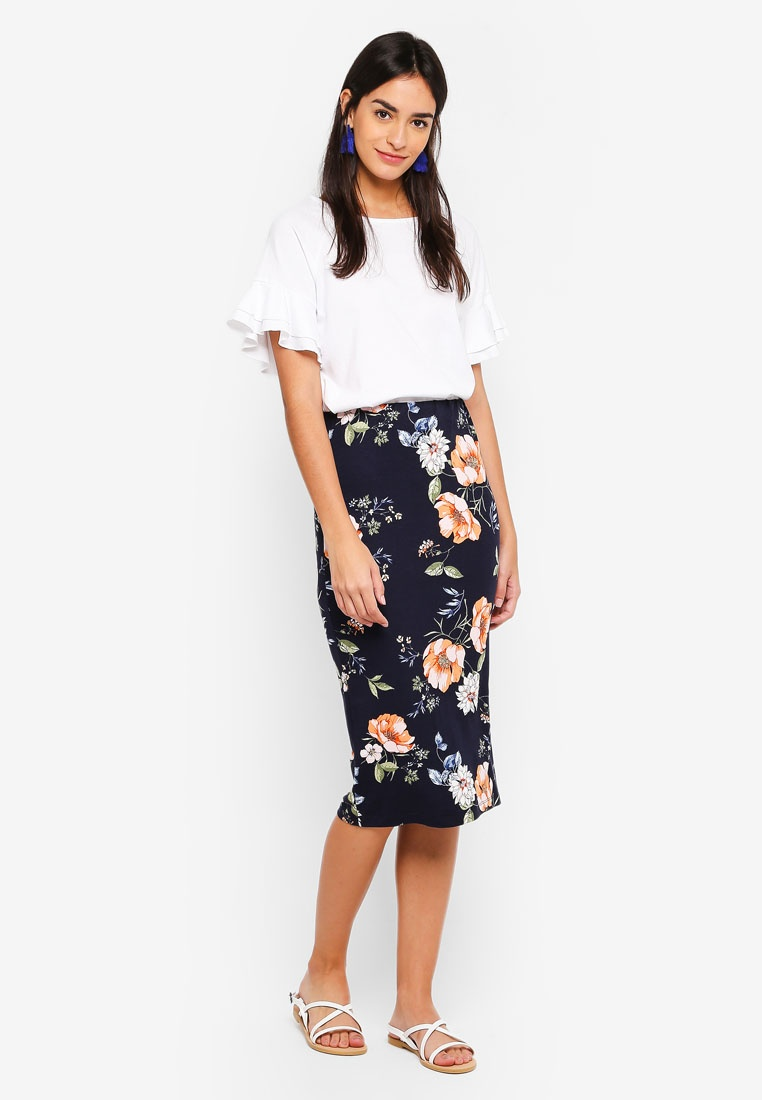 Bright Dorothy Skirt Perkins Multi Floral Pencil Navy wPrYxZqP
