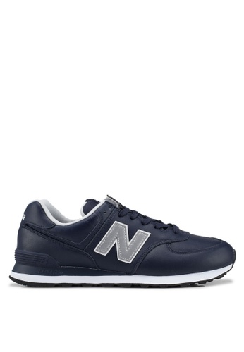 New Balance navy 574 Lifestyle Leather Shoes 67F7CSH0C0EA11GS_1