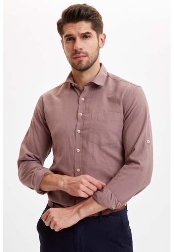 DeFacto 粉紅色 Long Sleeve Cotton Shirt D6F55AA63E092DGS_1