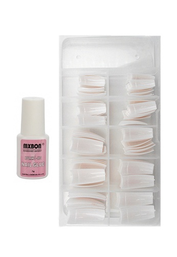 Pretty2u Half & White 100pcs Nail Tips & Nail Glue Set PR716BE72EELMY_1