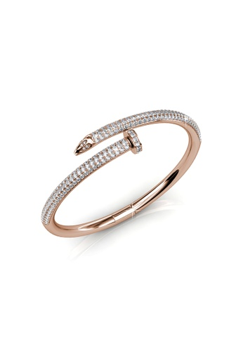 Buy Her Jewellery Nail Bangle Rose Gold Crystals from