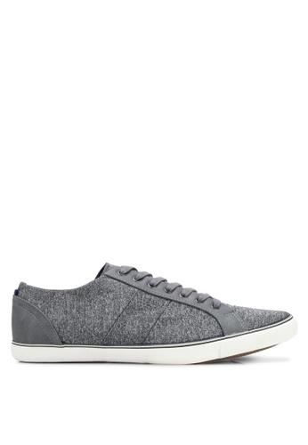 Burton Menswear London grey Grey Leather Look Trainers BU964SH0SHOEMY_1