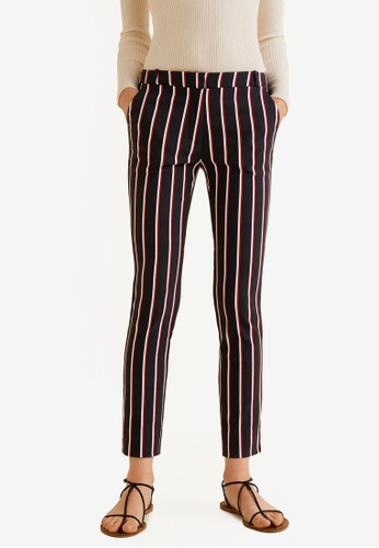 Mango black and red Crop Slim-Fit Trousers 64DDFAA330BFA6GS_1